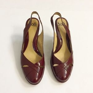 Sofft Burgundy Red Leather Slingback Heels 8.5M